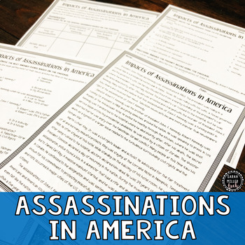 Impacts of Assassinations in America Reading & Writing Activity (SS5H6, SS5H6c)