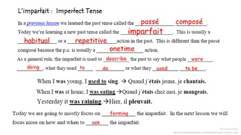 Imparfait (Imperfect) Formation and Usage Intro: French Quick Lesson