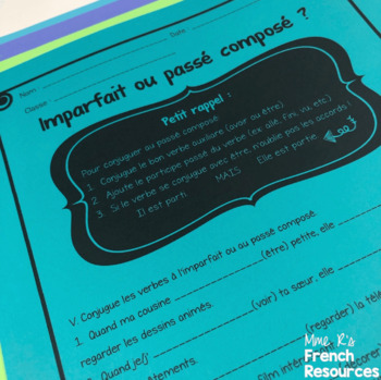 French NO PREP Imparfait/ Imperfect notes and worksheets