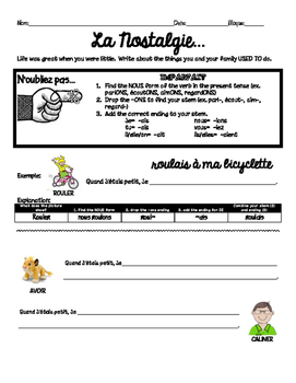 "Imparfait guided practice handout for beginners ""When I Was Little"""