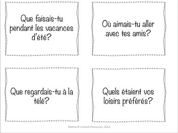 French Imparfait speaking task cards and find someone who bundled