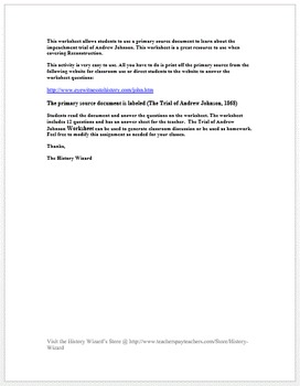 Impeachment Trial of Andrew Johnson:Reconstruction Primary Source Worksheet