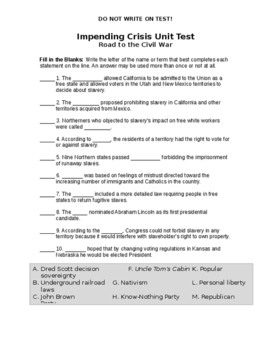 Impending Crisis Unit Test and Study Guide