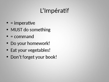 Impératif (Imperative in French) power point