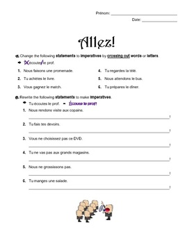 Imperative in French - Allez! worksheet