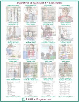 Imperatives 16 Worksheet- 4 Exam Bundle