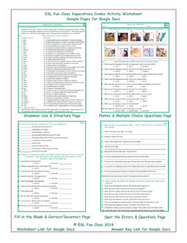 Imperatives Combo Interactive Worksheets for Google Apps