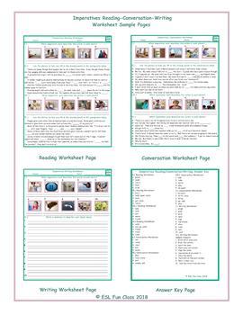 Imperatives Reading-Conversation-Writing Worksheets