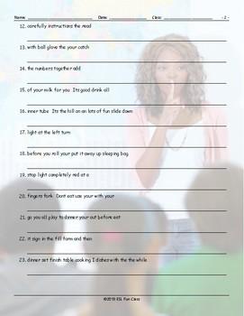 Imperatives Scrambled Sentences Worksheet
