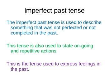 Imperfect Spanish Tense