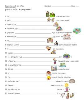 Imperfect Tense Activity- Childhood- La niñez (Realidades 2, Chapter 4A)
