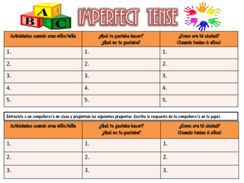 Imperfect Tense Practice Worksheet - SPANISH