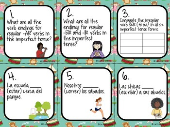 FREE Imperfect Tense Task Cards | Free Spanish Imperfect Tense Activity