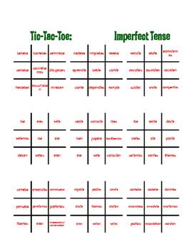Spanish Imperfect Tic Tac Toe Partner Game