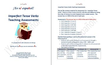 Imperfect Tense Verbs Quizzes  Teaching Material