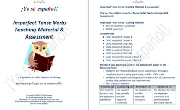 Imperfect Tense Verbs  Teaching Material & Assessment