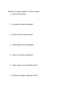 Imperfect Tense worksheet -- Realidades 2 Ch. 4A