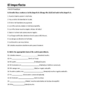 Imperfect Worksheet
