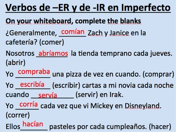 Imperfect of -ER and -IR Verbs Initial Presentation