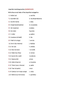 Imperfect tense matching practice