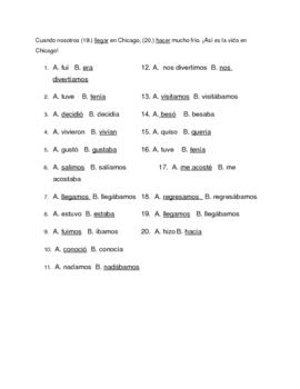 Imperfect vs. Preterite Spanish Reading:  preterito vs. imperfecto