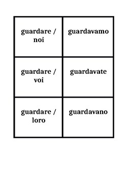 Imperfetto Italian verbs Concentration games