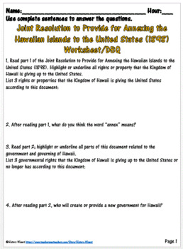Imperialism: American Annexation of Hawaii Primary Source Worksheet