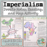 Imperialism Doodle Notes, Reading, and Map Activity