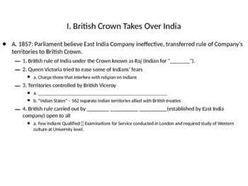 Imperialism: India Under British Rule Lecture and Powerpoint & activity