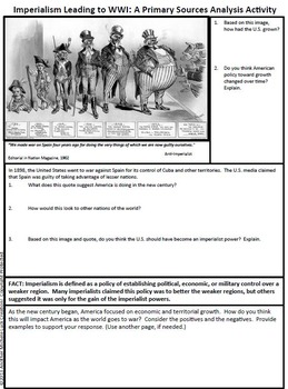 Imperialism Leading to WWI Primary Source Analysis Activity World War One 1