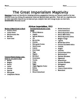 Imperialism Map Activity