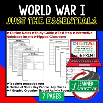 World War I Outline Notes JUST THE ESSENTIALS Unit Review