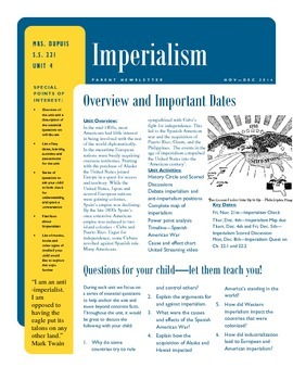 Imperialism - Parent Newsletter