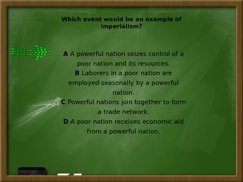 Imperialism PowerPoint Review/Test Questions with animated answer pop up