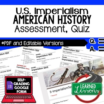 Imperialism Test, Imperialism Quiz, American History Assessment