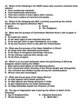 Imperialism Test- covers Africa, Asia, Latin America