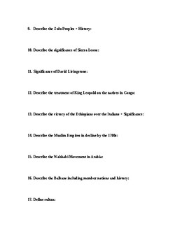 Imperialism Unit Study Guide