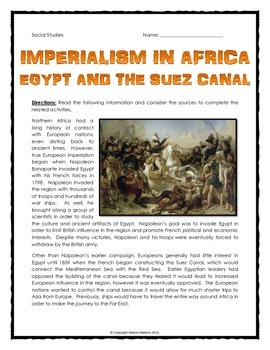 Imperialism in Africa - Egypt and the Suez Canal - Reading, Cartoon and Map