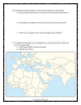 Suez Canal On Africa Map.Imperialism In Africa Egypt And The Suez Canal Reading Cartoon