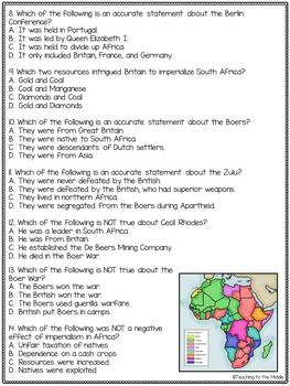 Imperialism in Africa Quiz