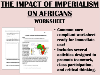 Imperialism in Africa worksheet - Global/World History Com