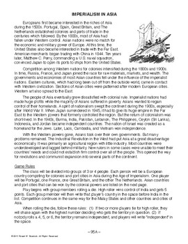 Imperialism in Asia, WORLD HISTORY LESSON 95 of 150, Class Game, Map Ex. & Quiz