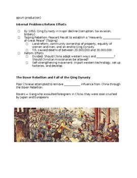 Imperialism in China (Boxer Rebellion, Opium Wars) Guided Notes