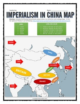 Imperialism in China - Map Activity