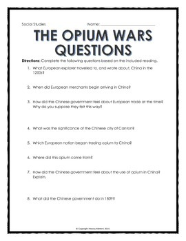 imperialism in china opium wars reading questions and cartoon analysis. Black Bedroom Furniture Sets. Home Design Ideas