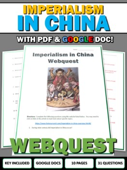 Imperialism in China and the Opium Wars - Webquest with Key