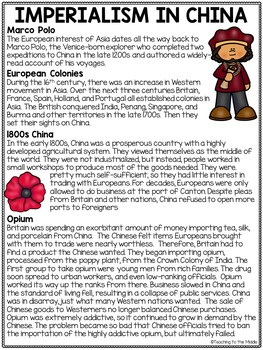 Imperialism in China Reading Comprehension Worksheets, DBQ's