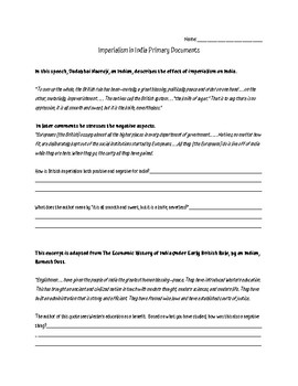 Imperialism in India Primary Documents