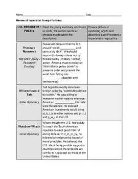 Imperialist Foreign Policy Review Chart