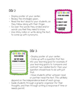Implementing Close Reading in Small Groups - poster and how-to guide!